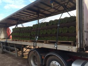 Rolls of turf for delivery