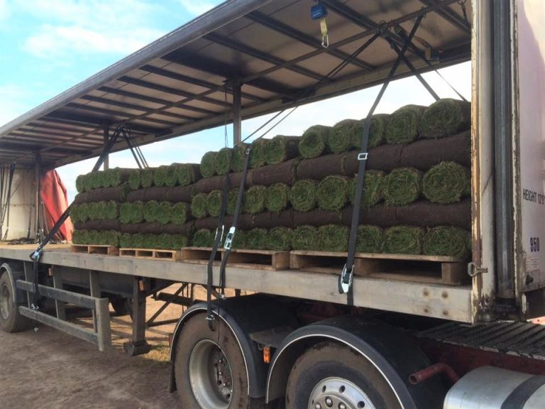 Turf in pallets in Carbutts delivery van