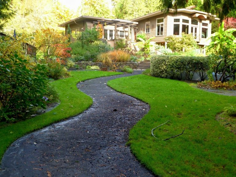 Winding pathway with turf at the sides