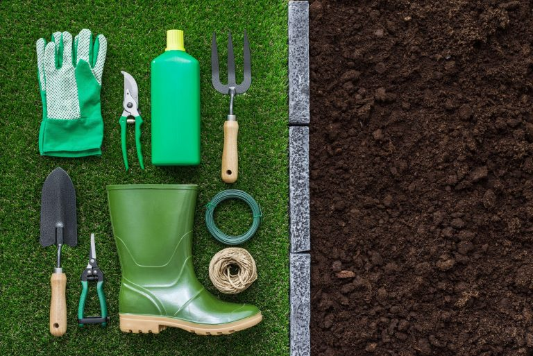 Garden tools and soil